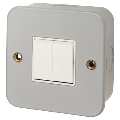 6A 2 Gang Plate Switch - Metal Clad
