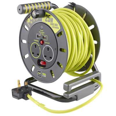 BG 13A Open Reel Cable and USB - 2 Socket)