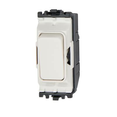 MK 20A 1 Way Double Pole Switch Module - White)