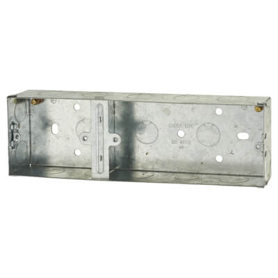 2 + 1 Gang Flush Back Box - 35mm - Galvanised Metal)