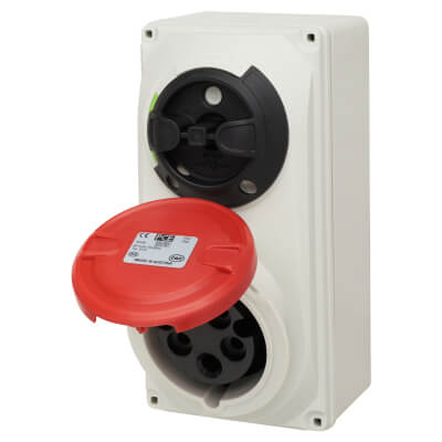 16A 4 Pin and Earth Surface Socket and Isolator - Red