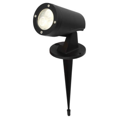 Stanley LED Wall and Ground Spike Spotlight - 4000K - Black)