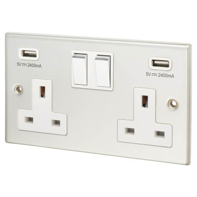 Contactum 13A 2 Gang Switched Socket with 2 x USB - 4.8A - Polished Steel with White Insert)
