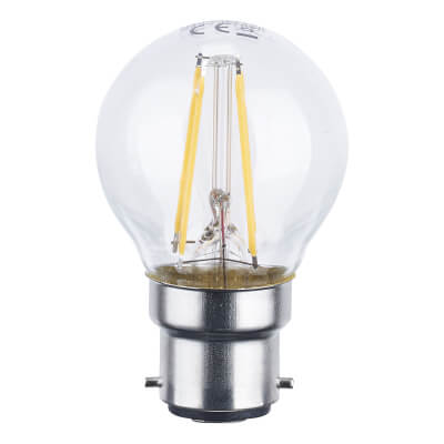 4W BC LED Filament Golf Ball Lamp - Warm White)