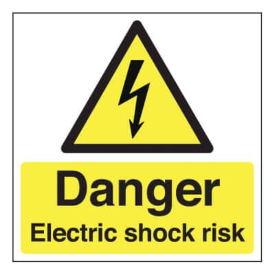 Danger Electric Shock Risk - 150 x 150mm - Rigid Plastic