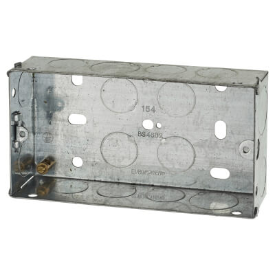2 Gang Knockout Back Box - 35mm - Galvanised)
