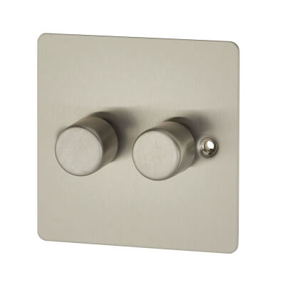 BG 400W 2 Gang Flat Plate 2 Way Push Dimmer Switch - Brushed Steel