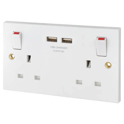 BG 13A 2 Gang Switched Socket with 2 x USB - 3.1A - White  )