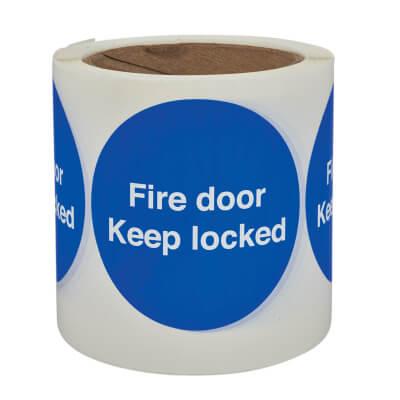 Fire Door Keep Locked - Self-Adhesive Vinyl Label - 80 x 80mm)