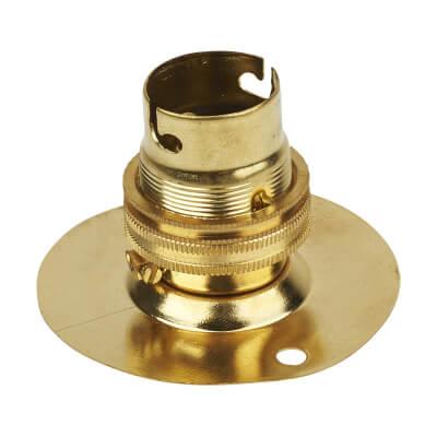 Batten Brass Lampholder - Bayonet Cap Fitting - Brass)