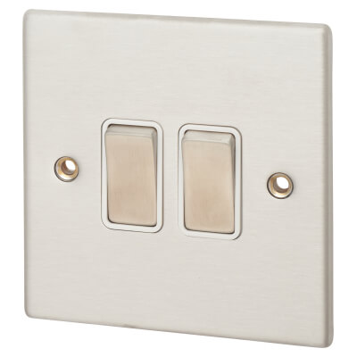 Hamilton 10A 2 Gang 2 Way Rocker Switch -  Satin Stainless with White Inserts)