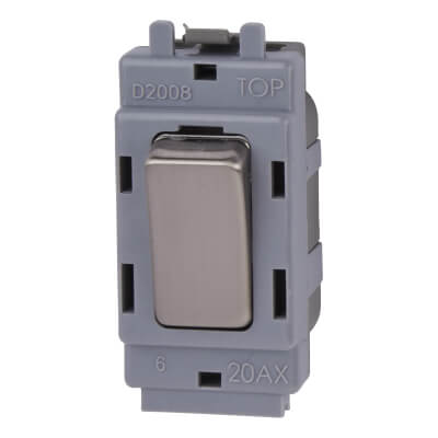 BG 20A 2 Way Single Pole Grid Switch Module - Brushed Steel