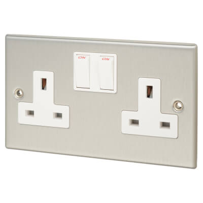 Contactum 13A 2 Gang Double Pole Switched Socket - Brushed Steel with White Insert)