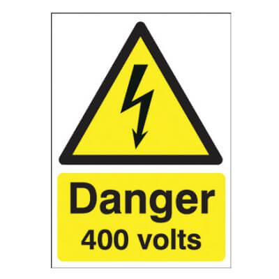 Danger 400 Volts - 210 x 148mm - Rigid Plastic