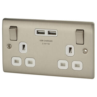 BG 13A 2 Gang Switched Socket with 2 x USB - 2.1A - Brushed Steel)