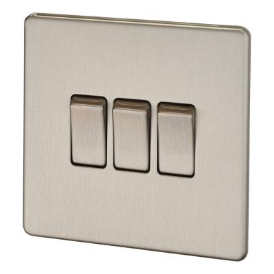 BG 10A 3 Gang 2 Way Screwless Flatplate Light Switch - Brushed Steel)