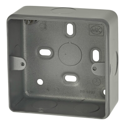 MK 1 Gang Spare Metalclad Surface Box with Knockouts - Grey