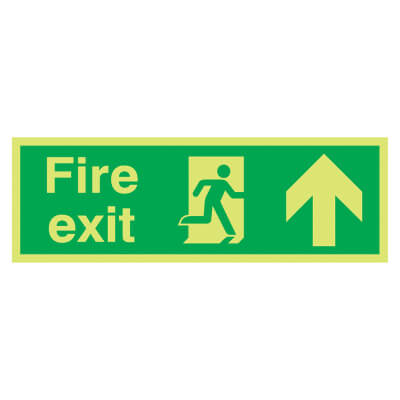 NITE GLO Fire Exit Running Man with Arrow - Up - 150 x 450mm - Rigid Plastic)