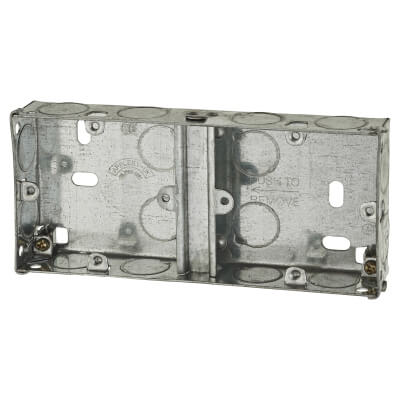 1+1 Gang Dual Knockout Back Box - 25mm - Galvanised)