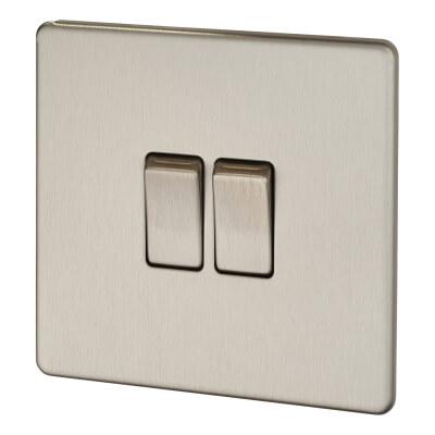 BG 10A 2 Gang 2 Way Screwless Flatplate Light Switch - Brushed Steel)