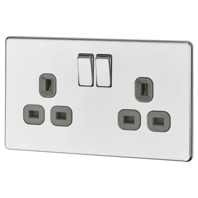 BG 13A 2 Gang Screwless Flatplate Switched Socket - Polished Chrome with Grey Insert)