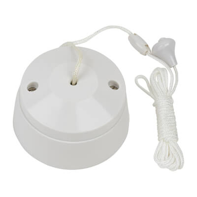 MK 6A 2 Way Pull Cord Switch - White