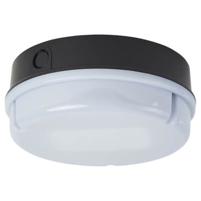 16W 2D Round Screw Drum Bulkhead Light - Black/Opal)