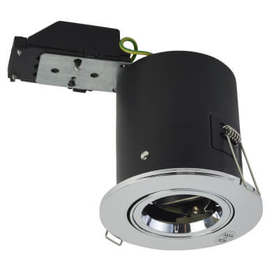 KSR Lighting Adjustable Fire Rated Downlight - IP20 - Polished Chrome)