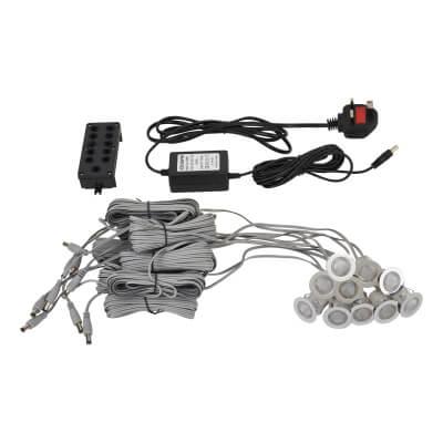 0.3W 30mm White LED Decking Kit - Stainless Steel - Pack 10