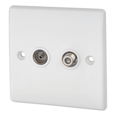 BG 2 Gang Satellite and Coaxial Socket - White)