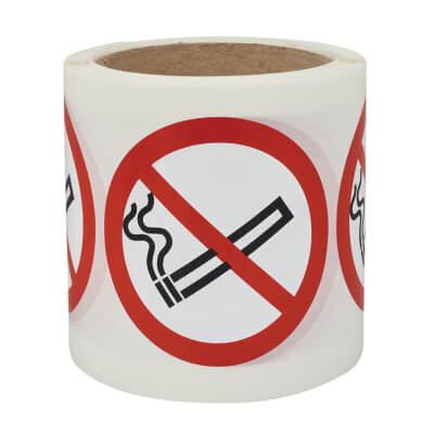No Smoking - Self-Adhesive Vinyl Label - 80 x 80mm