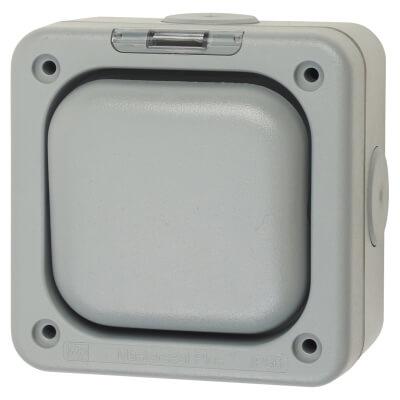 MK Masterseal Plus 10A IP66 1 Gang 1 Way Weatherproof Switch - Grey)