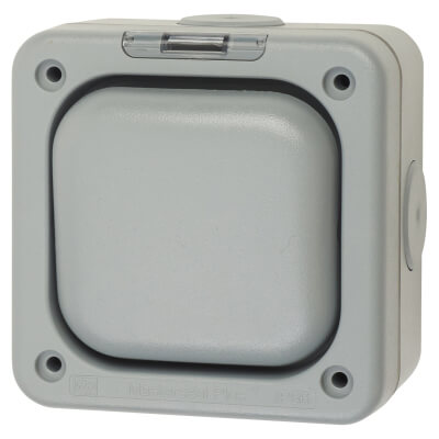 MK Masterseal Plus 10A IP66 1 Gang 1 Way Weatherproof Switch - Grey)