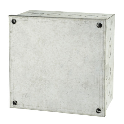 Adaptable Back Box with Knockouts - 80mm - Galvanised)