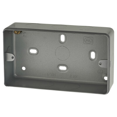 MK 2 Gang Metal Back Box with Knock Out - 41mm - Grey)