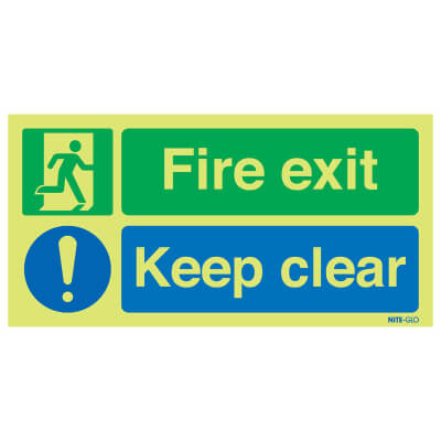 NITE GLO Fire Exit Keep Clear - 150 x 450mm - Rigid Plastic)