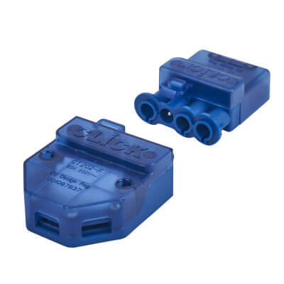 Click Scolmore 20A Push In Connector - 4 Pin - Blue)