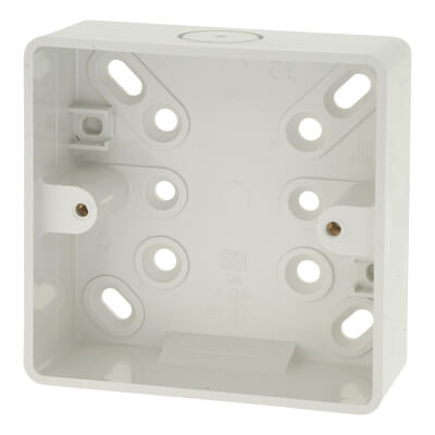 MK 1 Gang Moulded Surface Box without Earth Terminal - 32mm - White
