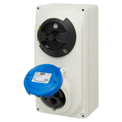 16A 2 Pin and Earth Surface Socket and Isolator - Blue)