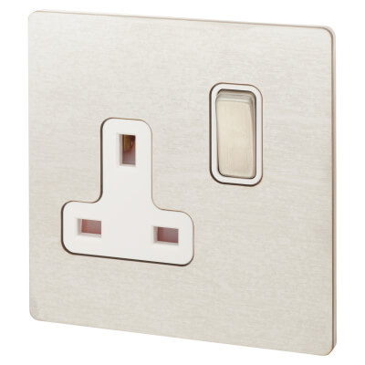 Hamilton 13A 1 Gang Screwless Flat Plate Switched Socket - Satin Stainless with White Inserts)