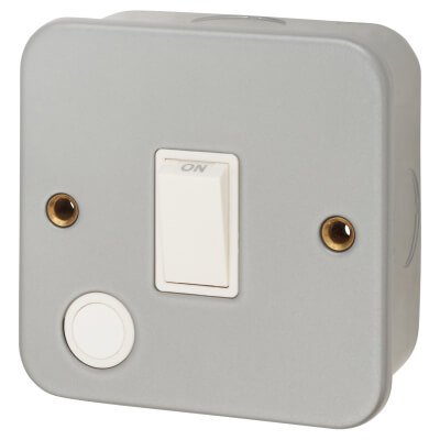 20A Double Pole Metal Clad Switch - Grey