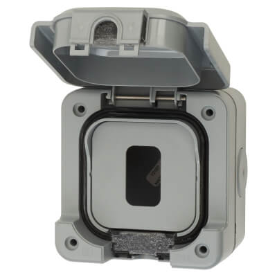 MK Masterseal Plus IP56 1 Gang Weatherproof Modular Grid Enclosure - Grey)