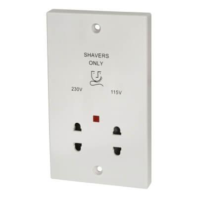 Contactum 230/115V Shaver Socket - White)