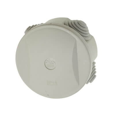 Round Adaptable Back Box with Knockouts - 46mm - White)