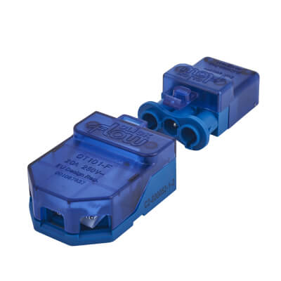 Click Scolmore Push In Connector 20A - 3 Pin - Blue