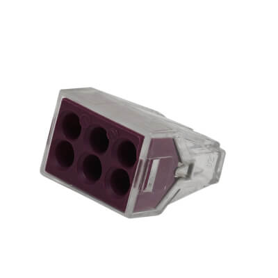 Wago 6W Push Wire Connector - Violet - Pack 10)