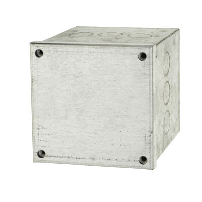 Adaptable Back Box with Knockouts - 97mm - Galvanised)