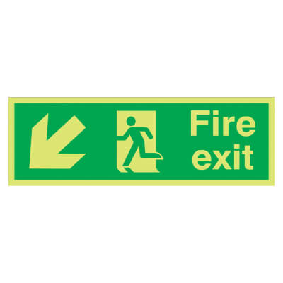 NITE GLO Fire Exit Running Man with Arrow - Down Left - 150 x 450mm - Rigid Plastic)