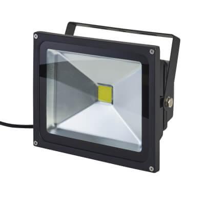 30W 6000K LED Square Floodlight - Black)