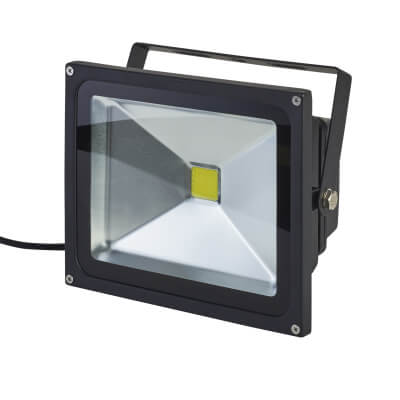 30W 6000K LED Square Floodlight - Black)